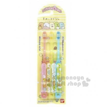 〔小禮堂〕角落生物 日製兒童牙刷組《3入.黃.吃飯糰》口腔清潔.盥洗用品