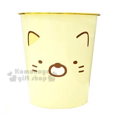 〔小禮堂〕角落生物 貓咪 圓形無蓋垃圾桶《黃.大臉》書報桶.收納桶.置物桶