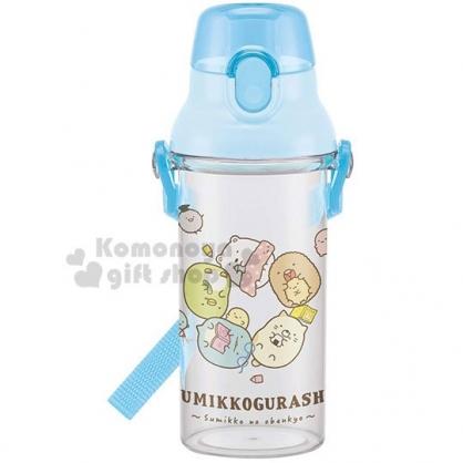 〔小禮堂〕角落生物 日製透明直飲水壺附背帶《淡藍.躺姿》480ml.水瓶.兒童水壺