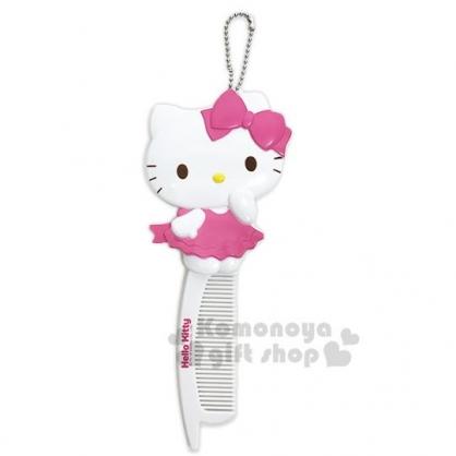 〔小禮堂〕Hello Kitty 造型隨身摺疊鏡梳《粉白.站姿》掛飾.鏡子.梳子.折梳