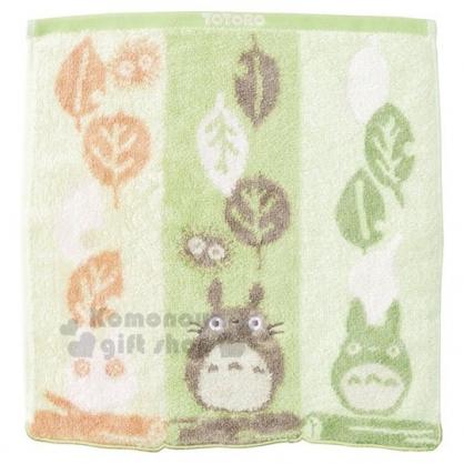 〔小禮堂〕宮崎駿Totoro龍貓 棉質方形毛巾《綠.樹葉》34x36cm.方巾