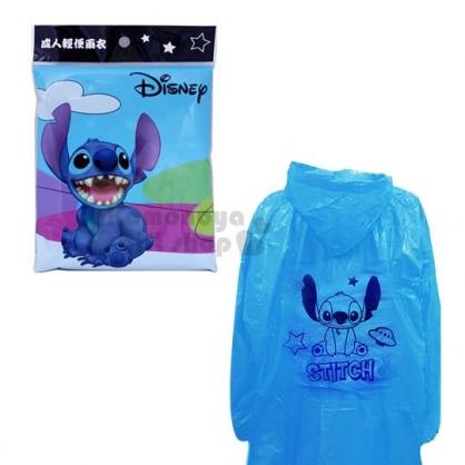 〔小禮堂〕迪士尼 史迪奇 成人輕便雨衣《藍.坐姿》雨具