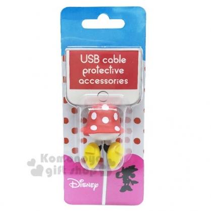 〔小禮堂〕迪士尼 米妮 造型傳輸線保護套《黃紅.屁屁》USB線套.iPhone線套.手機配件