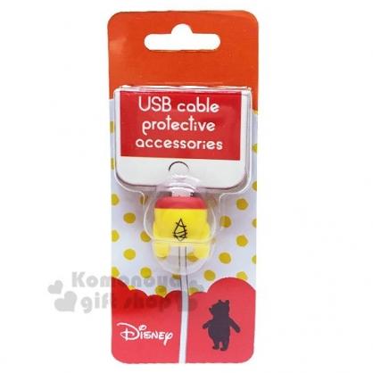 〔小禮堂〕迪士尼 小熊維尼 造型傳輸線保護套《黃.屁屁》USB線套.iPhone線套.手機配件