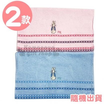 〔小禮堂〕Peter Rabbit 彼得兔 精繡棉質長毛巾《M.2款隨機.粉/藍》33x75cm.兒童毛巾