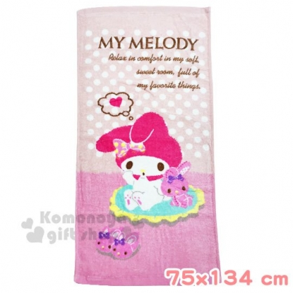 〔小禮堂〕美樂蒂 棉質大浴巾《粉.坐姿》76x152cm.毛巾