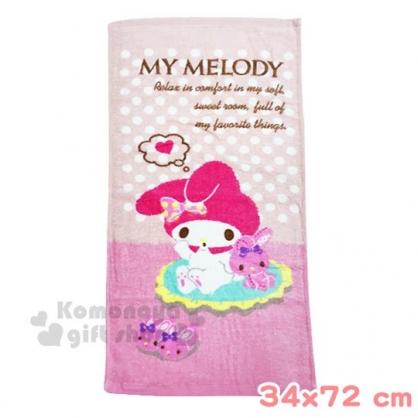 〔小禮堂〕美樂蒂  棉質長毛巾《M.粉.坐姿》34x72cm.兒童毛巾