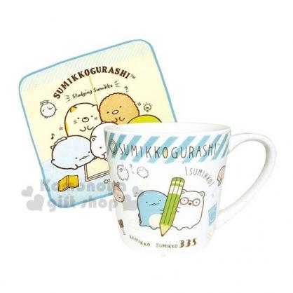 〔小禮堂〕角落生物 陶瓷馬克杯方巾組《米藍.寫字》毛巾.手帕.咖啡杯.茶杯