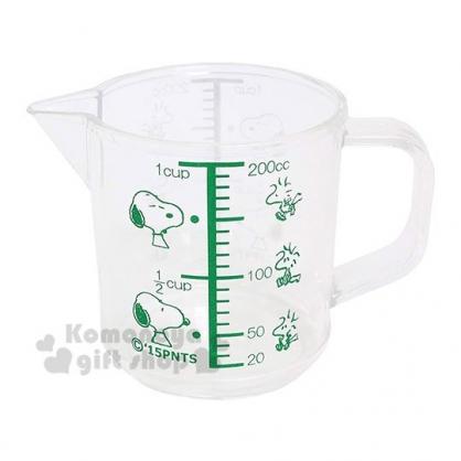 〔小禮堂〕史努比 單耳透明塑膠量杯《綠.躺屋頂》200ml.烘焙用品