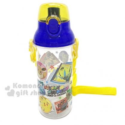 〔小禮堂〕神奇寶貝 皮卡丘 日製透明直飲式水壺附背帶《黃藍.角色》480ml.水瓶.兒童水壺