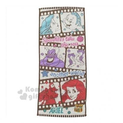 〔小禮堂〕迪士尼 小美人魚 棉質長毛巾《棕粉.膠捲》34x80cm.兒童毛巾