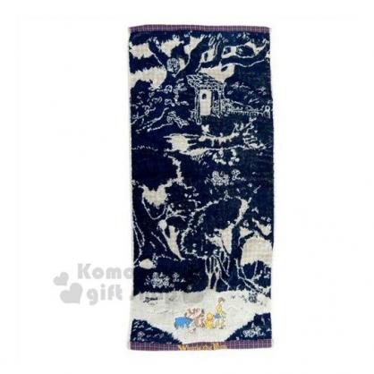 〔小禮堂〕迪士尼 小熊維尼 棉質長毛巾《深藍.角色》34x80cm.兒童毛巾