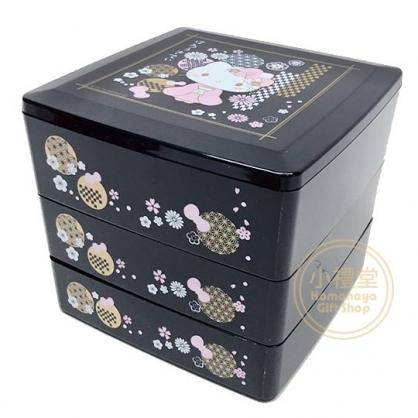 〔小禮堂〕Hello Kitty 方形三層過年糖果盒乾果盒《黑》壽司盒.便當盒.新年雜貨
