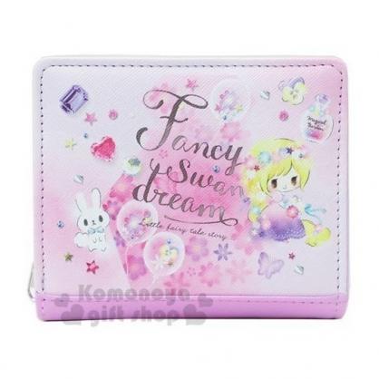 〔小禮堂〕迪士尼TsumTsum 長髮公主 皮質扣式拉鍊短夾《紫.水彩》皮包.皮夾.零錢包