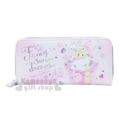 〔小禮堂〕迪士尼TsumTsum 長髮公主 皮質拉鍊長夾《紫.水彩》皮包.皮夾.錢包