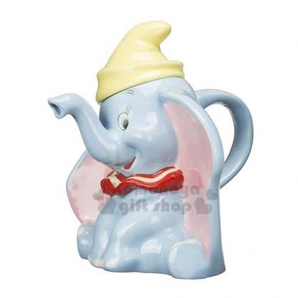 〔小禮堂〕迪士尼 小飛象 造型陶瓷茶壺《灰藍.坐姿》咖啡壺.水壺