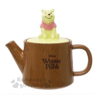 〔小禮堂〕迪士尼 小熊維尼 造型蓋陶瓷茶壺《黃棕.坐姿》350ml.咖啡壺.水壺