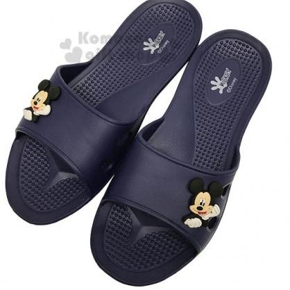 〔小禮堂〕迪士尼 米奇 極輕防滑塑膠拖鞋《深藍.大臉》室內拖鞋.浴室拖鞋