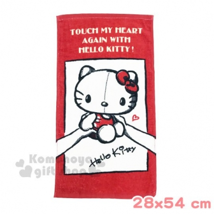 〔小禮堂〕Hello Kitty 棉質長毛巾《紅白.手稿》28x54cm.兒童毛巾
