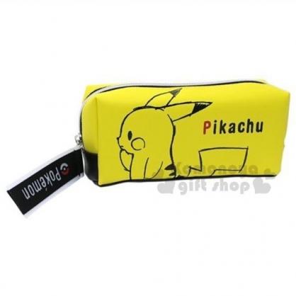 〔小禮堂〕神奇寶貝Pokemon 皮卡丘 皮質拉鍊筆袋《黃.側臉》化妝包.收納包.鉛筆盒