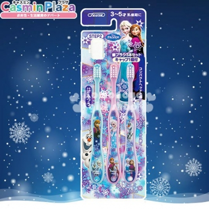 〔小禮堂〕冰雪奇緣 學童牙刷組《3入.藍紫.姊妹.雪寶.適3-5歲.附牙刷蓋》易握形狀設計