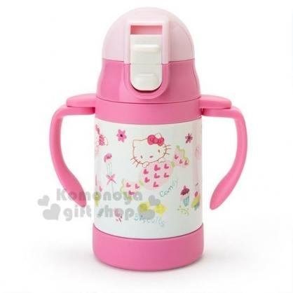 〔小禮堂〕Hello Kitty 幼兒彈蓋不鏽鋼雙耳學習杯《粉.糖果》250ml.水杯.保溫杯