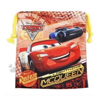 〔小禮堂〕迪士尼 閃電麥坤 棉質束口袋《紅.賽車》18x20cm.縮口袋.收納袋