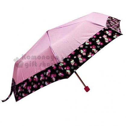 〔小禮堂〕Hello Kitty 折疊雨傘附收納袋《粉黑.櫻花》折傘.雨具