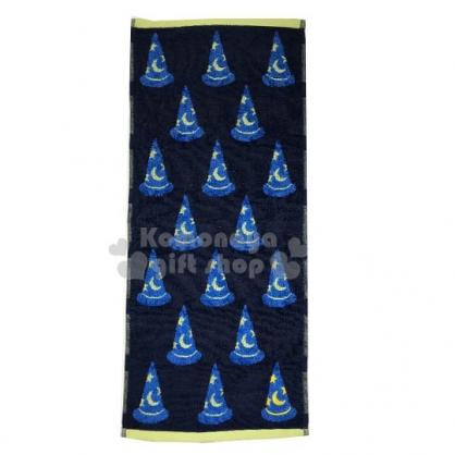〔小禮堂〕迪士尼 米奇 棉質長毛巾《深藍.魔法帽》33x80cm.兒童毛巾