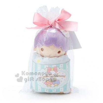 〔小禮堂〕雙子星KIKI 迷你絨毛玩偶娃娃方巾組《紫綠》23x23cm.毛巾.手帕