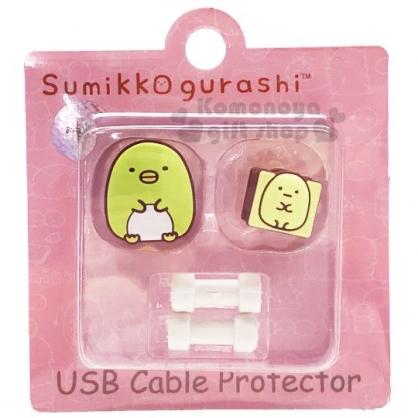 〔小禮堂〕角落生物 企鵝 造型傳輸線保護套組《2入.綠黃》USB線套.充電線套