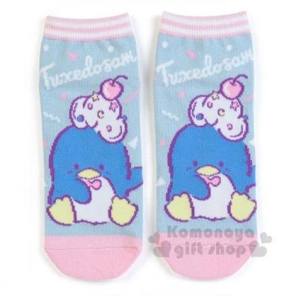 〔小禮堂〕山姆企鵝 成人及踝襪《粉藍.櫻桃奶油》短襪.隱形襪.23-25公分