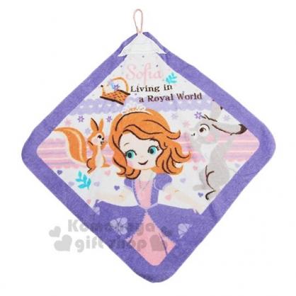 〔小禮堂〕迪士尼 蘇菲亞公主 可掛式棉質擦手巾《粉紫.拉裙》34x34cm.毛巾