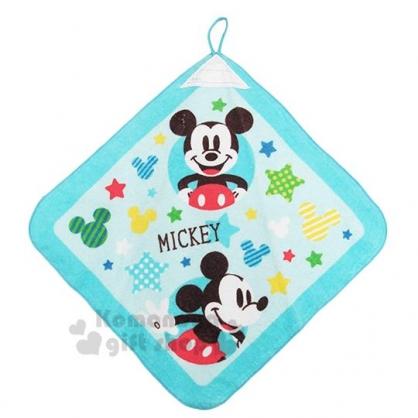 〔小禮堂〕迪士尼 米奇 可掛式棉質擦手巾《藍.星星》34x34cm.毛巾