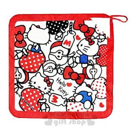 〔小禮堂〕Hello Kitty 可掛式棉質擦手巾《紅白.蘋果》34x34cm.毛巾