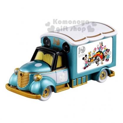 〔小禮堂〕迪士尼 米奇 TOMICA小汽車《綠白.宣傳車》10週年紀念版.公仔.玩具.模型
