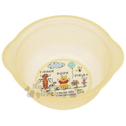 〔小禮堂〕迪士尼 小熊維尼 塑膠透明小臉盆《黃.插圖》水盆.洗臉盆