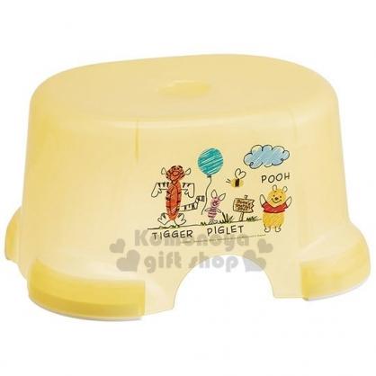 〔小禮堂〕迪士尼 小熊維尼 塑膠透明小浴椅《黃.插圖》踩腳椅.矮凳.板凳