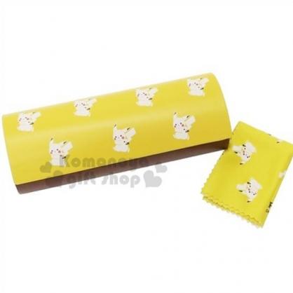 〔小禮堂〕神奇寶貝Pokemon 皮卡丘 皮質硬殼眼鏡盒《棕黃.字母》附眼鏡布.收納盒