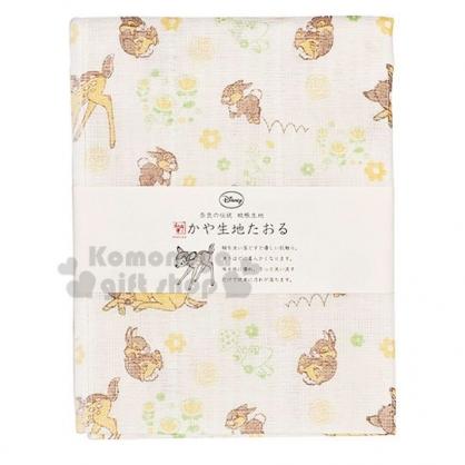 〔小禮堂〕迪士尼 小鹿斑比 日製紗布長毛巾《米黃.滿版》30x80cm.WAFUKA和布華毛巾