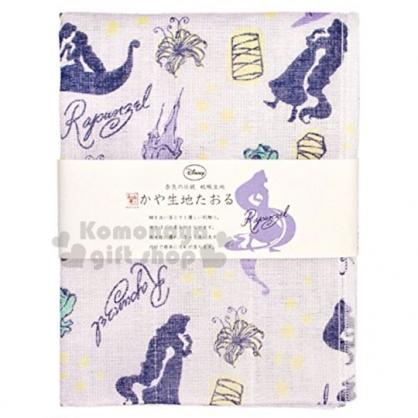 〔小禮堂〕迪士尼 長髮公主 日製紗布長毛巾《紫.滿版》30x80cm.WAFUKA和布華毛巾