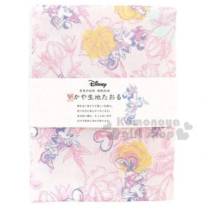 〔小禮堂〕迪士尼 米妮 日製紗布長毛巾《粉黃.滿版》30x80cm.WAFUKA和布華毛巾