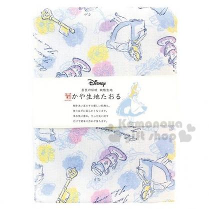 〔小禮堂〕迪士尼 愛麗絲 日製紗布長毛巾《藍白.滿版》30x80cm.WAFUKA和布華毛巾
