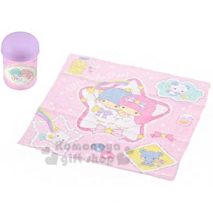 〔小禮堂〕雙子星 日製方形毛巾附罐《粉紫.鬆餅》28x32cm.手帕.毛巾罐