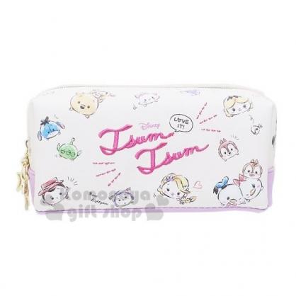 〔小禮堂〕迪士尼TsumTsum 皮質刺繡拉鍊筆袋《粉紫.大臉》鉛筆盒.化妝包.收納包
