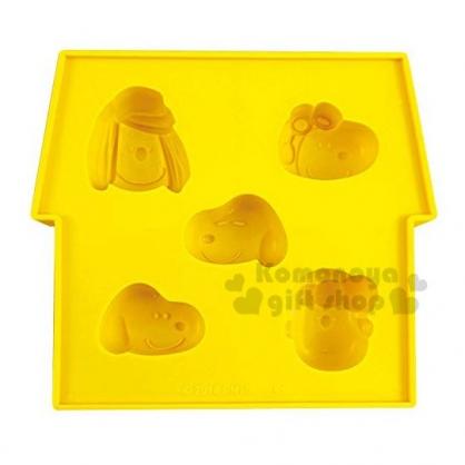 〔小禮堂〕史努比 造型矽膠製冰模《黃.大臉》餅乾模.冰模.巧克力模