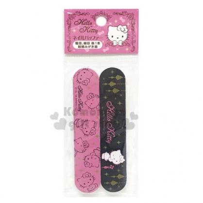 〔小禮堂〕Hello Kitty 海棉指甲銼刀組《2入.黑粉.眨眼》指甲保養.美甲.銅板小物