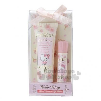 〔小禮堂〕Hello Kitty 櫻花護手霜護唇膏組《粉黃》護手乳.保養禮盒