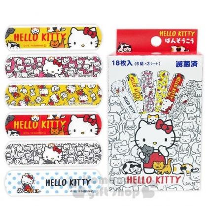 〔小禮堂〕Hello Kitty 日製盒裝OK蹦組《紅白.抱貓》18枚入.繃帶.貼布
