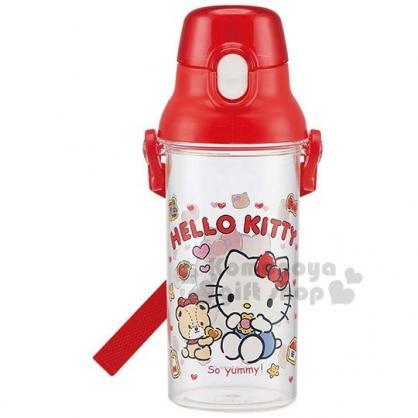 〔小禮堂〕Hello Kitty 日製透明直飲水壺附背帶《紅.吃餅乾》480ml.水瓶.兒童水壺